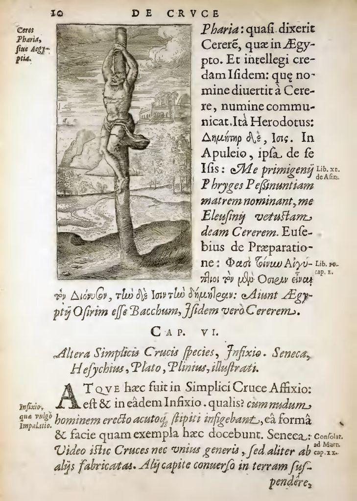 JUSTUS_LIPSIUS_1594_De_Cruce_p_10_Torture_stake